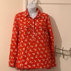 Gap Fitted Boyfriend Shirt - Red Blouse with Owls